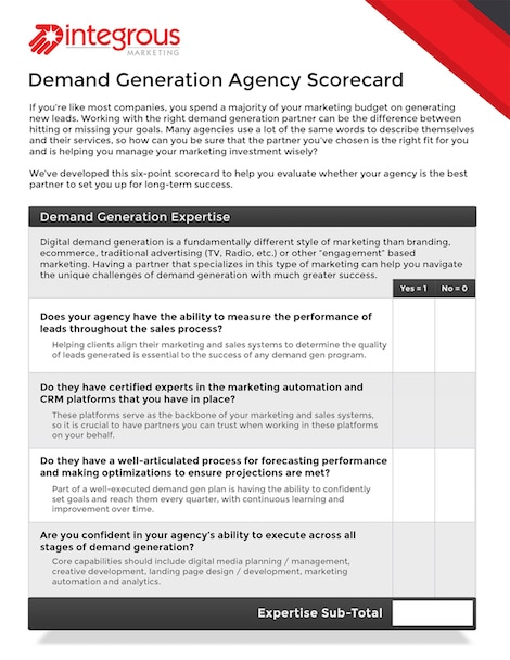 Demand Gen Agency Scorecard